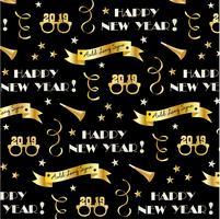 Silvester 2019 Vektormuster mit goldenen Fahnen, Gläser, Sterne und Konfetti-Luftschlangen