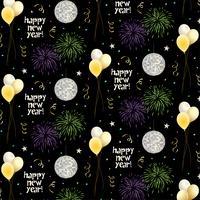 nyårsafton vektor mönster med ballonger och fyrverkerier på svart bakgrund