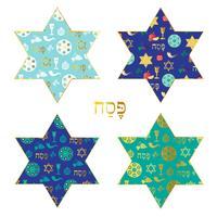 blaues Gold Pessachmuster auf jüdischen Sternen