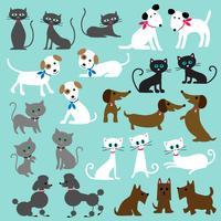 katter och hundar clipart