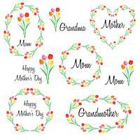 glad mödrar dag satt med tulpaner