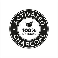 Symbol für aktivierte Holzkohle 100% natürlich. vektor