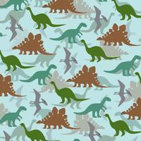 skiktad dinosaurismönster på blå bakgrund vektor