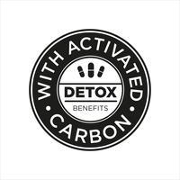 Whit-Aktivkohle-Symbol. Entgiftung Vorteile.