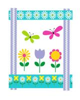 Påskkort med blommor och fjärilar