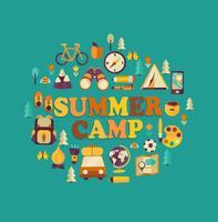 Sommerlager unter dem Motto. vektor