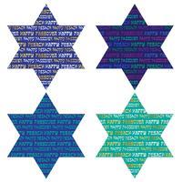 Typografiemuster auf jüdischen Sternen