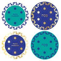 Blå och guld Passover seder tallrikar med vinrank gräns vektor