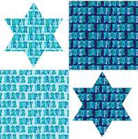 Påsk typografi mönster och judiska stjärnor vektor