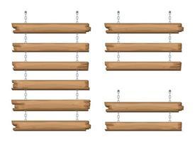 Holzschilder, die an einer Kette hängen vektor