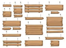 Holzschilder, die an Kette und Seil hängen vektor