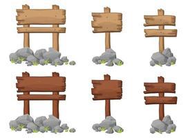Set aus Holzschild mit Felsen und Felsbrocken im Cartoon-Stil vektor