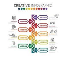 abstrakte Infografik-Vorlage mit 9 Schritten vektor