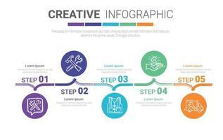 Timeline-Infografik-Vorlage mit 5 Optionen vektor