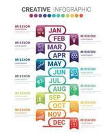 Timeline Infografik Design Vektor für 12 Monate