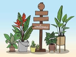 Holzschild und Topfpflanzen zum Schreiben von Nachrichten vektor