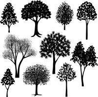 handdragen trädsilhouetter vektor