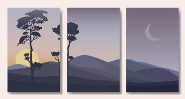 Reihe von minimalistischen Landschafts abstrakten zeitgenössischen Collagen vektor