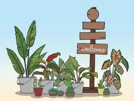 Holzschild zum Schreiben von Nachrichten und Topfpflanzen-Set vektor