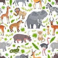 Afrika Savanne Tiere Muster. wilder tropischer Zoo vektor
