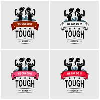 Starke Mädchen oder starke Frauen Logo Design.