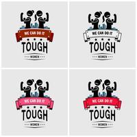 Tuffa tjejer eller starka kvinnor logotyp design.