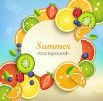 Sommerhintergrund mit tropischen Früchten