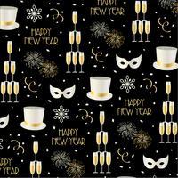 nyårsafton bakgrundsmönster på svart