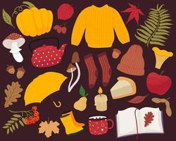 Herbstset mit verschiedenen Elementen. Elemente der Herbstsaison vektor