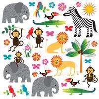 Dschungelpflanzen und Tiere clipart vektor