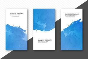 Set des abstrakten bunten Aquarells mit drei Fahnen