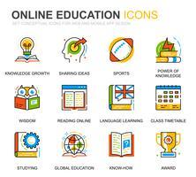 Enkel uppsättning utbildnings- och kunskapslinjer för webb- och mobilapps vektor
