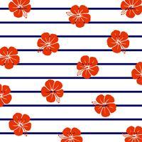 Röd hibiskus på marina ränder. vektor