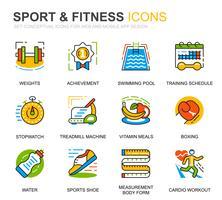 Enkel uppsättning sport- och fitnesslinjeikoner för webbplats- och mobilapps