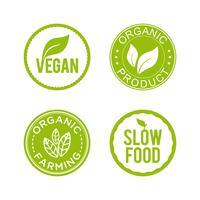 Hälsosam mat ikonuppsättning. Vegan, ekologisk produkt, ekologiskt jordbruk och långsamma matikoner. vektor