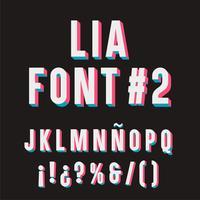 Lia Font # 2. 3D-tipografi-uppsättning.