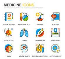 Simple Set Healthcare och Medicine Line Ikoner för webbplats och mobilappar