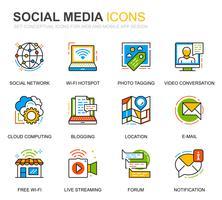 Einfache Social-Media- und Netzwerksymbole für Websites und mobile Apps vektor