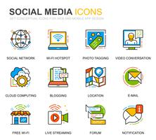 Enkel uppsättning sociala medier och nätverkslinjeikoner för webbplats- och mobilapps vektor