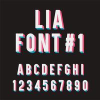 Lia-Schrift Nr. 1. 3D-Tipographie-Set.
