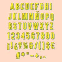 Gul isolerad 3D typografi. vektor