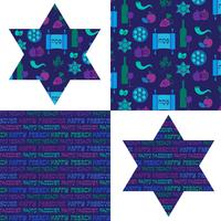 Påskmönster och judiska stjärnor vektor