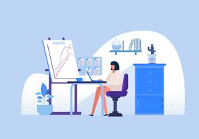 Büroangestellter auf Schreibtisch-Vektor-flacher Illutration vektor