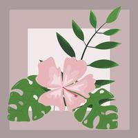 süße Postkarte mit tropischen Pflanzen zum Schreiben eines Urlaubs vektor