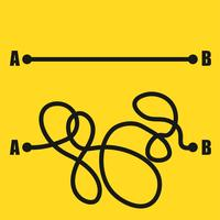 Vägen från punkt A till punkt B vektor