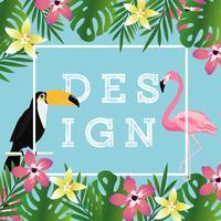 Tropisk bakgrund med toucan, flamingo och tropiska blad
