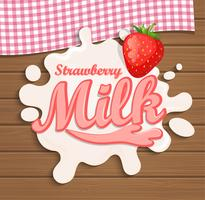 Mjölk jordgubbar stänk. vektor