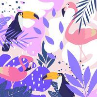 Tropisk djungel lämnar bakgrund med flamingos och tukaner