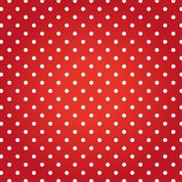 Röd bakgrund med vita prickar.