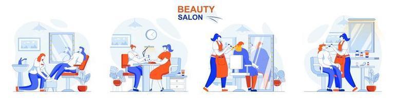 Schönheitssalon-Konzept stellte Menschen isolierte Szenen in flachem Design ein vektor
